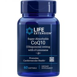 Life Extension Super-Absorbable CoQ10 (Ubiquinone) with d-Limonene 100mg Softgels 60