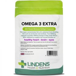 Lindens Omega 3 Fish Oil Extra Capsules 360