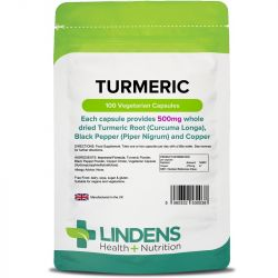 Lindens Turmeric 500mg with Black Pepper and Copper Vcaps 100