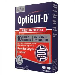 Nature's Aid OptiGUT-D (10 Billion Bacteria) + 5 Billion Saccharomyces Boulardii Vegicaps 30