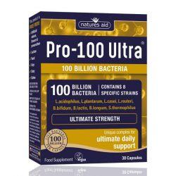 Nature's Aid Pro-100 Ultra (100 Billion Bacteria) 8 Strain Complex Vegicaps 30