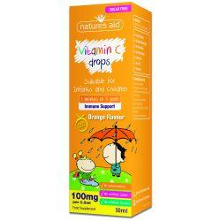Nature's Aid Vitamin C 100mg Mini Drops for infants & children - Orange flavour 50ml
