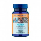 Higher Nature Alpha (Acertyl-L-Carnitine 250mg & Alpha Lipoic Acid 100mg) Capsules 90