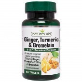 Nature's Aid Ginger, Turmeric & Bromelain Tablets 60