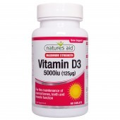 Nature's Aid Vitamin D3 5000iu (125ug) High Strength Tablets 60