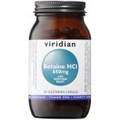 Viridian Betaine HCl 650mg with Gentian Veg Caps 90
