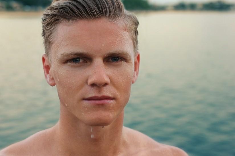 wet faced man