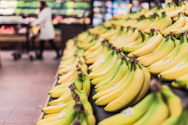 Supermarket stand of bananas